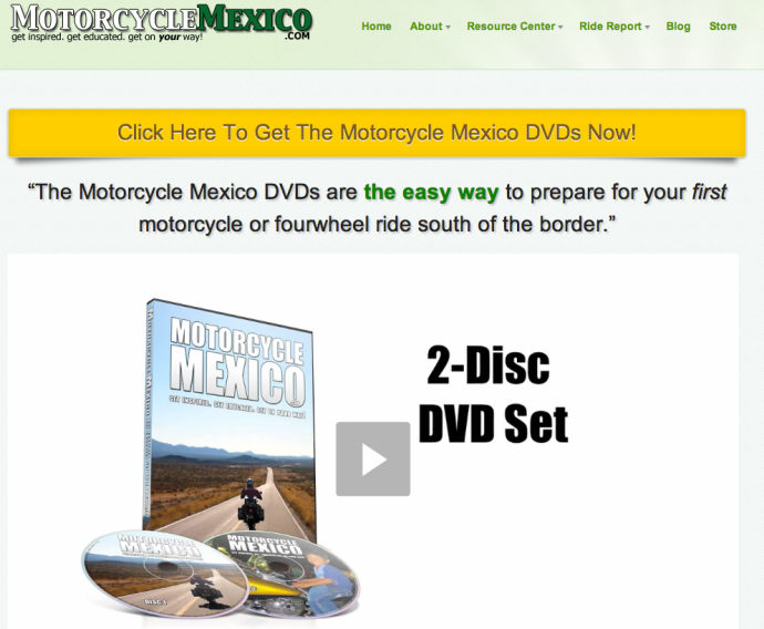 Motorcycle Mexico Landing Page